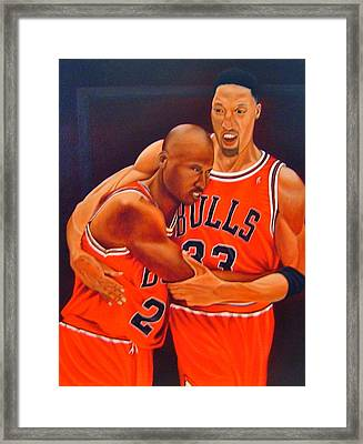 Jordan And Pippen Framed Print by Yechiel Abramov