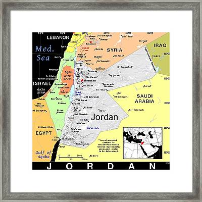 Jordan Exotic Map Framed Print by Florene Welebny