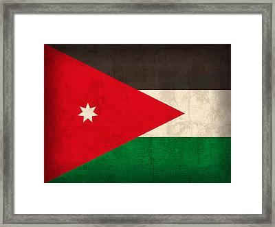 Jordan Flag Vintage Distressed Finish Framed Print by Design Turnpike