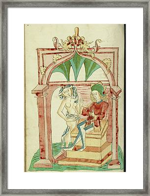 Josaphat Enthroned Tempted By A Naked Woman Follower Framed Print by Litz Collection