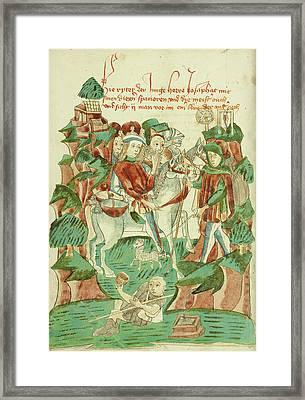 Josaphat Meeting A Blind Man And A Beggar Follower Of Hans Framed Print by Litz Collection