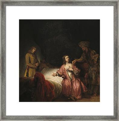 Joseph Accused By Potiphar's Wife Framed Print by Rembrandt