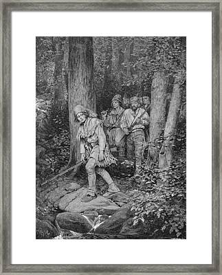 Joseph Brown Leading His Company To Nicojack, The Stronghold Of The Chickamaugas, Engraved Framed Print by Howard Pyle