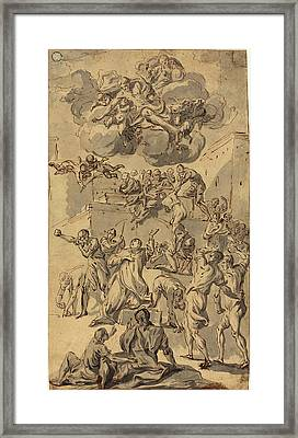 Joseph Parrocel, French 1646-1704, The Stoning Of Saint Framed Print by Litz Collection