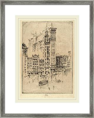 Joseph Pennell, Union Square, Rainy Day, American Framed Print by Litz Collection