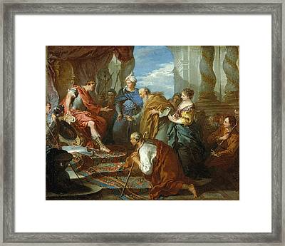 Joseph Presenting His Father And Brothers To The Pharaoh Framed Print by Francois Boucher
