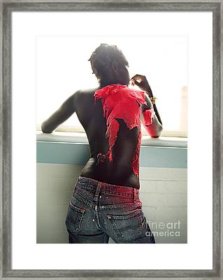 Framed Print featuring the photograph Josephine Red by Rebecca Harman
