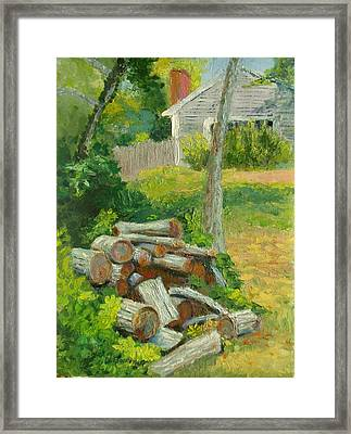 Joshua's Way Woodpile  Framed Print