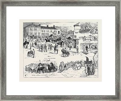 Jottings At The Horncastle Horse Fair, August 22 Framed Print by English School
