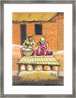 Framed Print featuring the painting Joueurs De Balafon Et De Tam Tam by Emmanuel Baliyanga