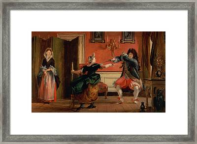 Jourdain Fences His Maid, Nicole With His Wife Looking On. Scene From Le Bourgeois Gentilhomme, Act Framed Print