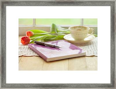Journal And Coffee Framed Print by Kay Pickens