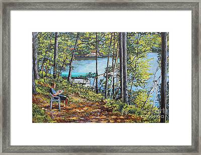Journal At The Lake Framed Print