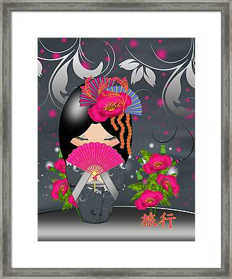 Journey Kokeshi Doll Framed Print by Tanya Hall