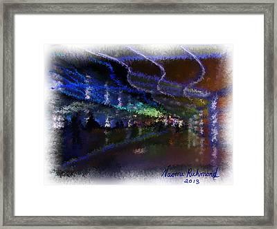 Journey Through The Neon Hallway - Chicago Ohare Framed Print by Naomi Richmond