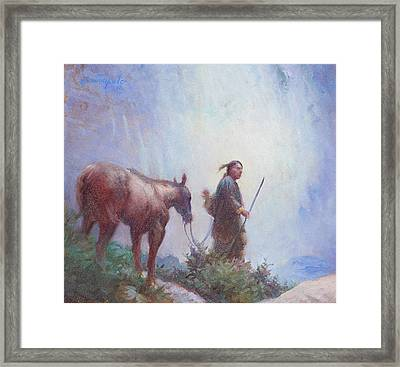 Journey To The Sacred Falls Framed Print