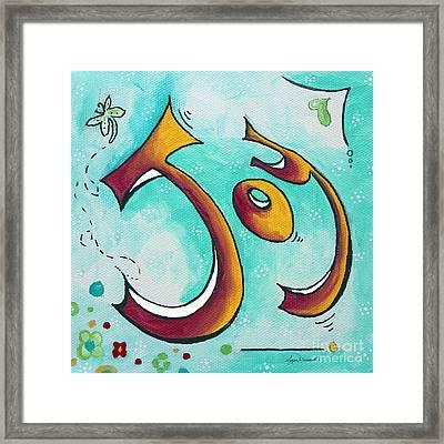 Joy Inspirational Typography Art Original Word Art Painting By Megan Duncanson Framed Print by Megan Duncanson