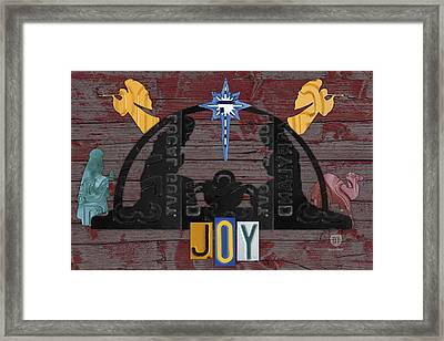 Joy Nativity Scene Recycled License Plate Art Framed Print by Design Turnpike