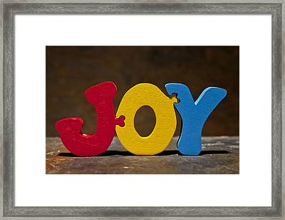 Joy Puzzle Painted Wood Letters Framed Print by Donald  Erickson