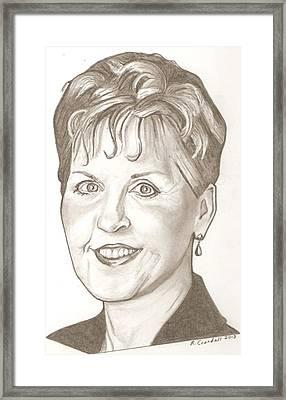 Joyce Meyer Drawing Framed Print by Robert Crandall