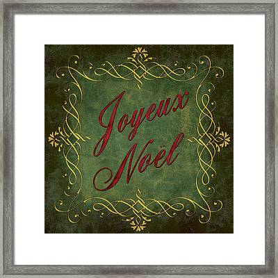 Joyeux Noel In Green And Red Framed Print by Caitlyn  Grasso