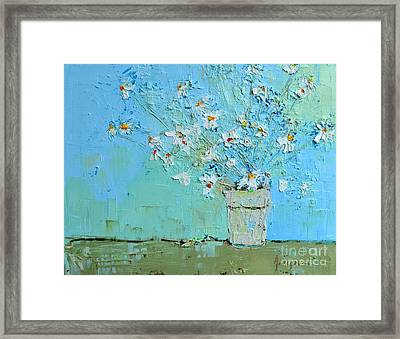 Joyful Daisies Flowers Modern Impressionistic Art Palette Knife Oil Painting Framed Print by Patricia Awapara