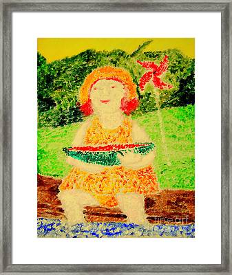 Framed Print featuring the painting Joyful Summer 1 by Richard W Linford