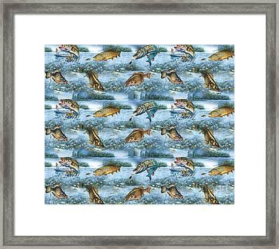 Jq Lake Fish Bedding Pillow Framed Print