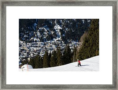 Jschalp Landscape Davos Town And Snowboarder Framed Print by Andy Smy