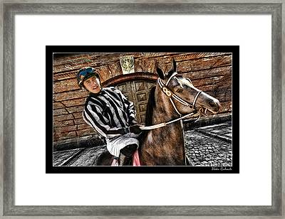 Juan Hermandez On Horse  Play N Win Framed Print by Blake Richards