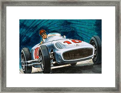 Juan Manuel Fangio Driving A Mercedes-benz Framed Print by English School