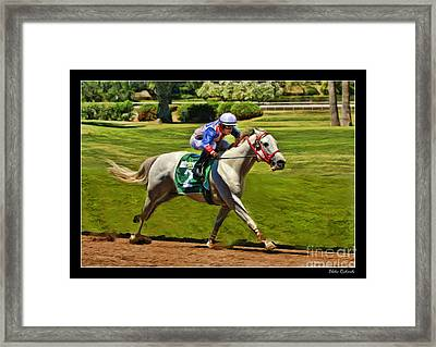 Juan Sanchez On Horse Sammy V  Framed Print by Blake Richards