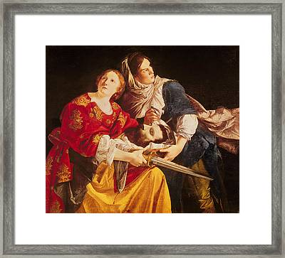 Judith With The Head Of Holofernes Oil On Canvas Framed Print by Orazio Gentileschi