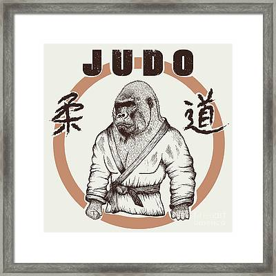 Judoka Gorilla Dressed In Kimono. Hand Framed Print