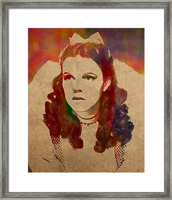 Judy Garland As Dorothy Gale In Wizard Of Oz Watercolor Portrait On Worn Distressed Canvas Framed Print