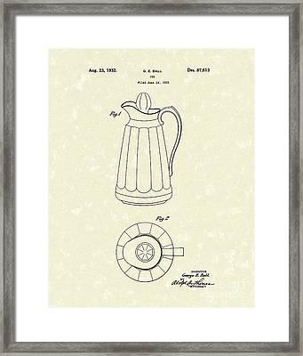 Jug 1932 Patent Art Framed Print