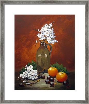 Jug And Blossoms Framed Print