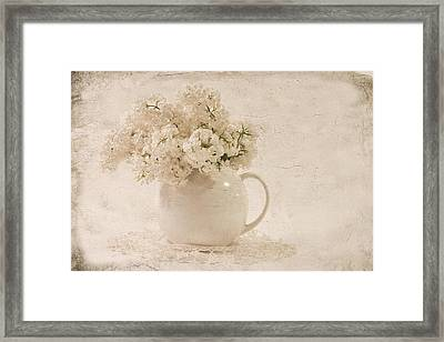 Jug Of White Lilacs Framed Print by Sandra Foster
