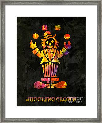 Juggling Clown By Kaye Menner Framed Print by Kaye Menner
