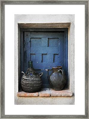Jugs And Blue Window Framed Print