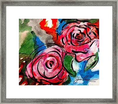 Framed Print featuring the painting Juicy Red Roses by Joan Reese