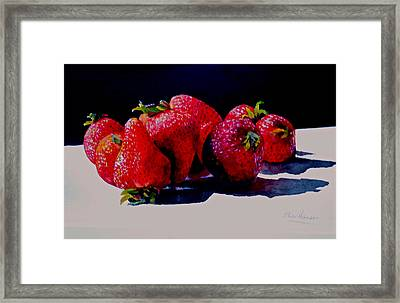 Juicy Strawberries Framed Print by Sher Nasser