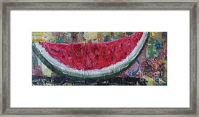Juicy Watermelon Slice - Sold Framed Print by Judith Espinoza