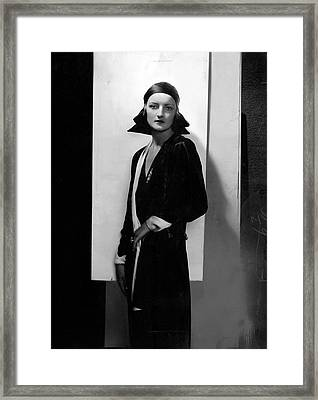 Jule Andre Wearing A Dress By Agnes Framed Print