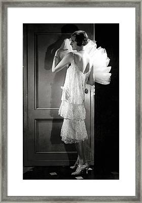 Jule Andre Wearing A Dress By Chanel Framed Print