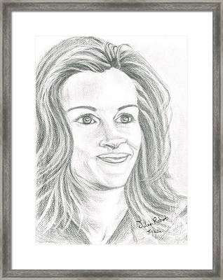 Framed Print featuring the drawing Julia Roberts by Teresa White
