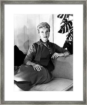 Julie, Doris Day, Relaxing Framed Print by Everett