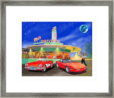 Julies Corvettes Framed Print