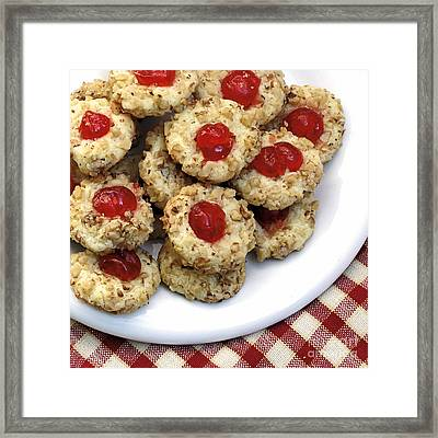 Cookies With Red Cherries Framed Print by Susan Schroeder