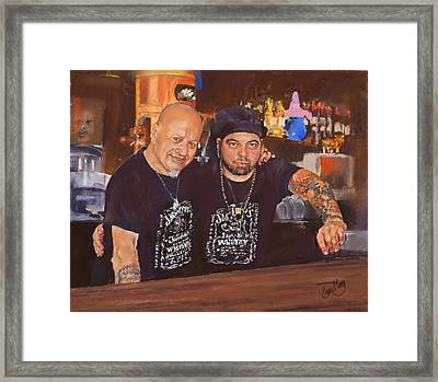Julio And Miguel Framed Print by Margaret Merry